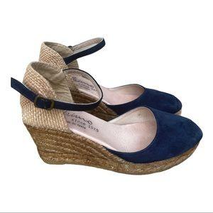 Gainno Navy Blue Suede Wedge Espadrilles Size 38